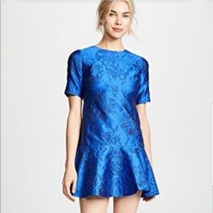 Alice + Olivia Blue Esther Ruffle Hem Tunic Dress